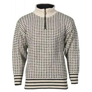 Islender m glidelås - Ullgenser 100% ull - Hvit og svart