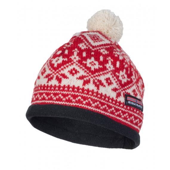 Hallingdal Lue - Norsk ull med Fleece - Eskimo - Rød og hvit