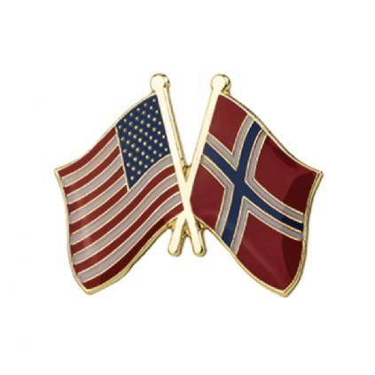 Pins - Flagg - USA / Norge - Vennskap