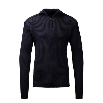 Nato troyer genser med glidelås - Ribbestrikket - Marineblå - Clipper