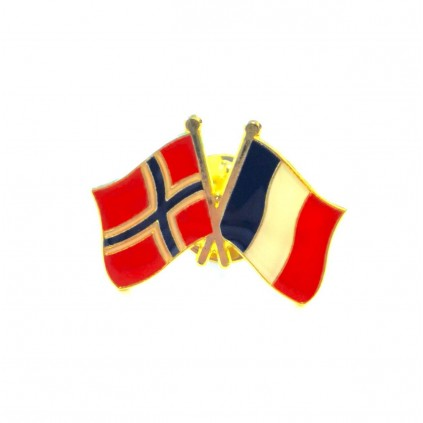 Pins - Flagg - Norge / Frankrike - Vennskap