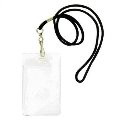 ID Kort Holder - Robust lomme i plastikk - Sort snor