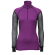 Lady Wool Thermo Zip Polo - Brynje - Sort/Lilla