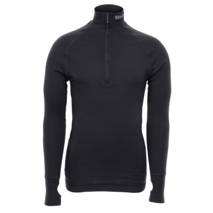 Arctic zip polo shirt - 3/4 hals - Brynje - Svart