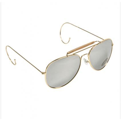Pilotbriller med speilglass - Messing - Miltec