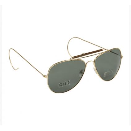 Pilotbriller med grønt glass - Messing - Miltec