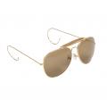 Pilotbriller med brunt glass - Messing - Miltec