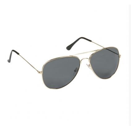 Pilotbriller i gull - Sotet glass - Solbriller - Med etui - Miltec