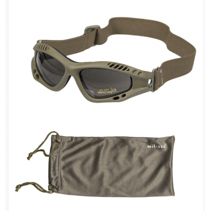 Vernebriller med hodestropp - Air Pro Smoke - Grønn - Miltec