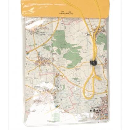 Vanntett kartpose / lommebok - 260 x 350mm - Nakkestropp - Gul - Miltec