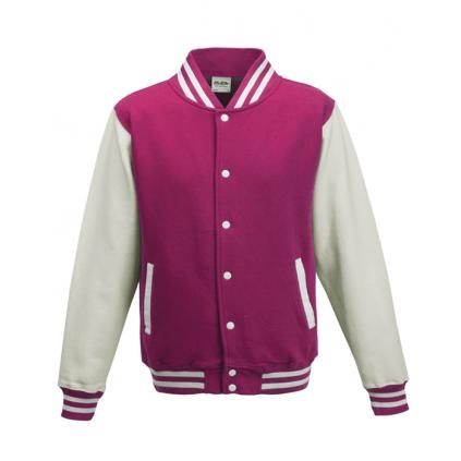 College jakke til barn - Varsity - Rosa / Hvit