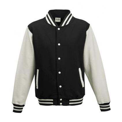 College jakke til barn - Varsity - Sort / Hvit