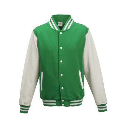 College jakke til barn - Varsity - Grønn / Hvit