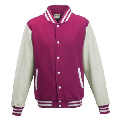 College jakke - Varsity - Rosa / Hvit