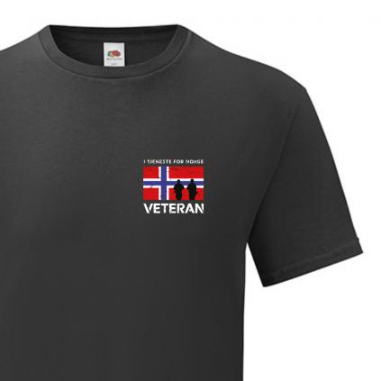 T-skjorte - Veteran - I tjeneste for Norge - Sort - Bomull