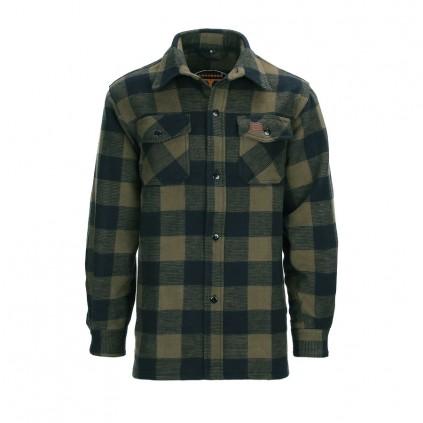 Lumberjack jakke - Flanel skjorte - Sort / Oliven - Longhorn