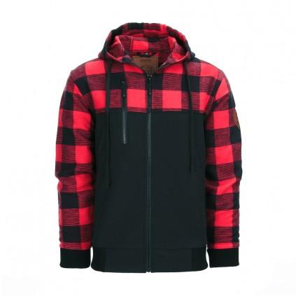 Lumbershell jakke - Flanel og vindstopper - Sort / Rød - Fostex