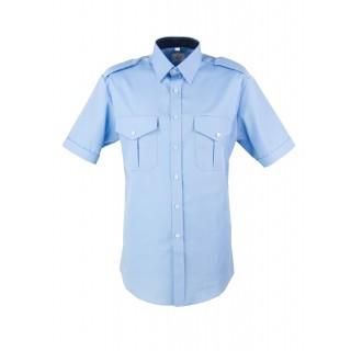 Skjorte med kort erm og slitekant - Selje - Lyseblå