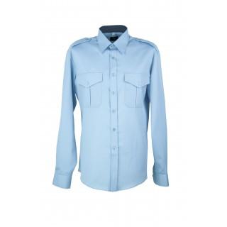 Skjorte med lang erm og slitekant - Selje - Lyseblå
